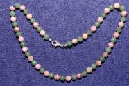 Gemstone necklace with aventurine and rhodonite beads