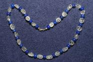 Gemstone necklace with lapis lazuli beads and rhinestone