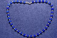 Gemstone necklace with lapis lazuli beads and silver beads